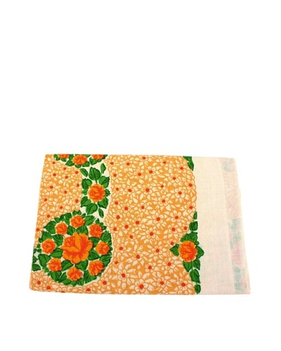 Floral Table Cloth, Bouquet, Gold/White/Green/Red/Orange