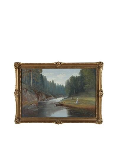 Saone Riverside Framed Landscape