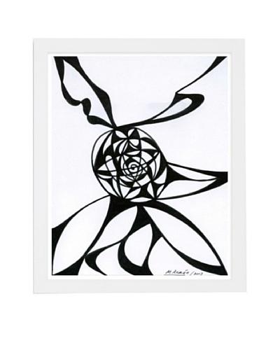 Manuel Roman Black Vortex Framed Art, Black/White
