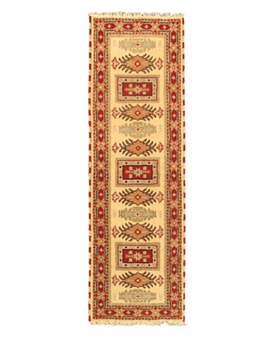 Hand-Knotted Royal Kazak Wool Rug, Cream, 2' x 6' 7 Runner