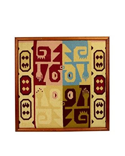 Vintage Tapestry Framed in Wooden Frame, Beige/Brown