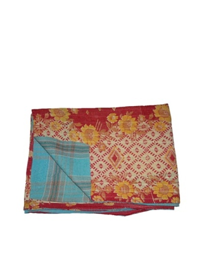 "Large Vintage Navneet Kantha Throw, Multi, 60"" x 90"""