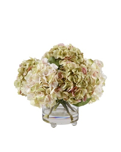 14.5 Hydrangea in Glass Vase, Lavender/Green