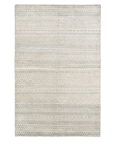 Hand-Knotted Eternity Gabbeh Silk Rug, Light Gray, 5' x 7' 9