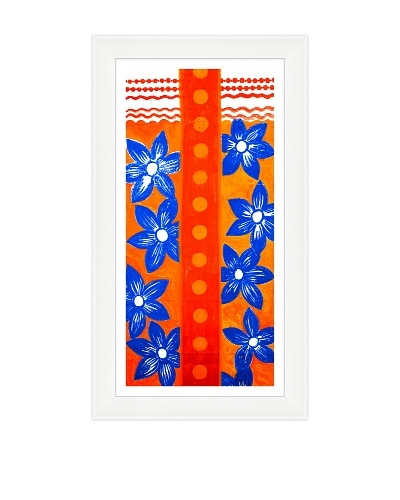 Happy Blue Flowers Against Orange Backdrop