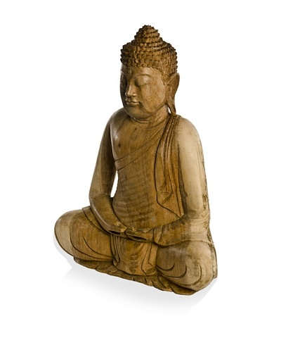 Sitting Buddha with Folded Hands Statue, Natural