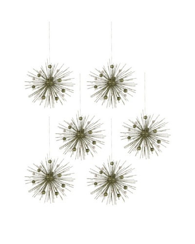 Set of 6 Starburst Wire Ornament with Greenand Champagne Beads