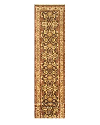 Hand-knotted Jaipur Traditional Runner Wool Rug, Black/Cream, 2' 6 x 15' 8 Runner