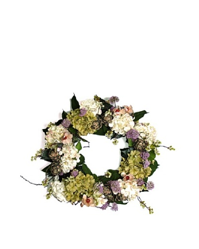 Hydrangea Artichoke Wreath [Green/Pink/white]