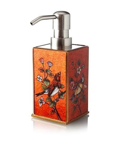 Reverse-Painted Glass Liquid Soap Dispenser, Red