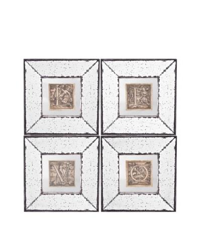 Set Of 4 Mirror Art [Silver Beige Aged Gold]