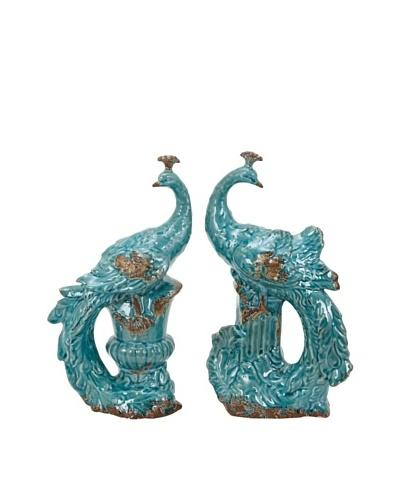 UMA Set of 2 Turquoise Ceramic PeacocksAs You See
