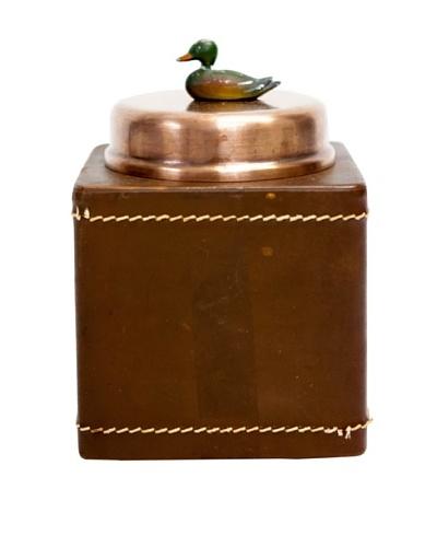 Rare Vintage Copper Square Container w/Leather Cover, c. 1900s