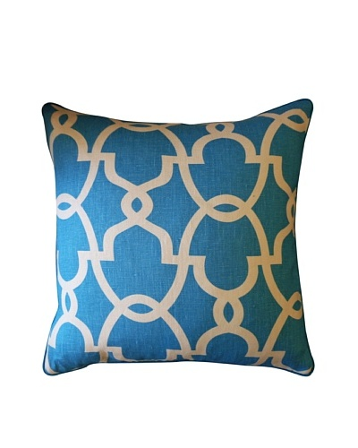 Dean Throw Pillow, Turquoise/Cream