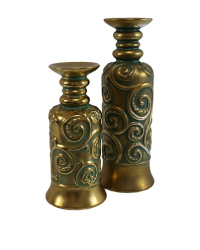 Set of 2 Molina Pillar Holders, Gold/GreenAs You See