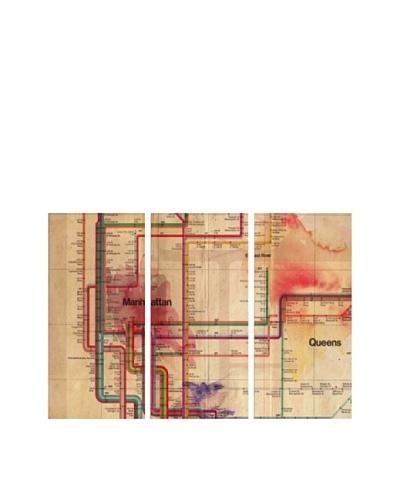 Oliver Gal Manhattan Subway Track Triptych Canvas Art