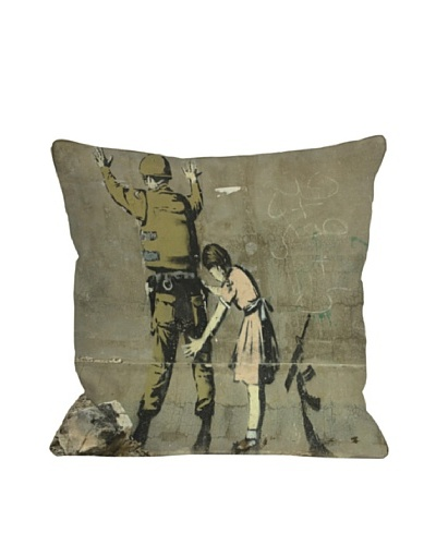 Banksy Girl with Soldier Pillow