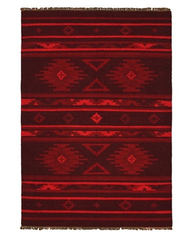 "Lahor Finest Traditional Kilim, Dull Red, 3' 11"" x 5' 9"""
