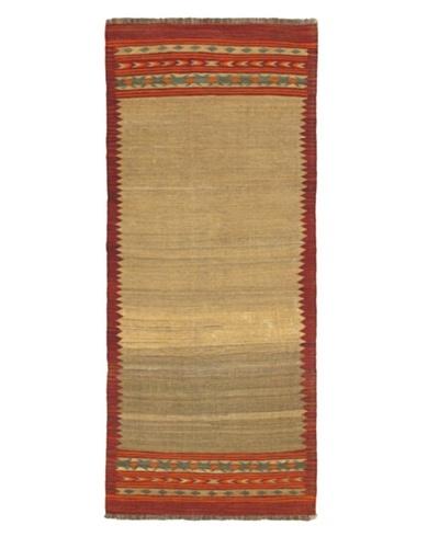 """Ankara Kilim Traditional Kilim, Dark Red/Khaki, 3' 1"""" x 7' 9"""" Runner"""