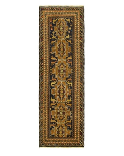 "Hand-knotted Royal Balouch Traditional Runner Wool Rug, Navy, 3' 1"" x 9' 7"" Runner"