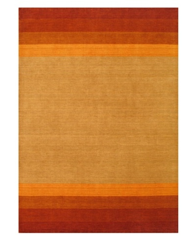 Hand-Knotted Luribaft Gabbeh Riz Rug, Dark Copper/Light Khaki, 5' 8 x 8'