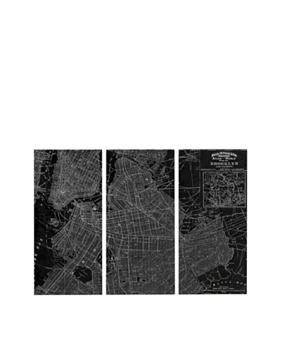 Oliver Gal Brooklyn Map 1891 Triptych Canvas Art