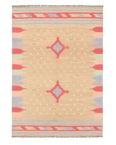 Hand Woven Ankara Kilim, Pink, 4' 8 x 6' 9