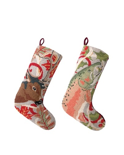Set of 2 Deer and Trout Hooked Stockings