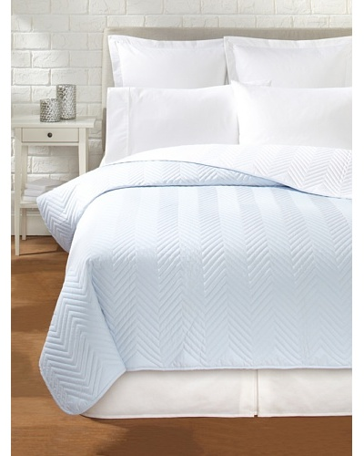 Percale Quilted Coverlet, Pale Blue, King