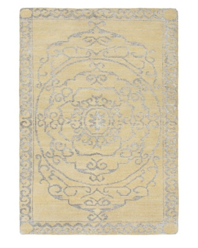 Hand-Knotted Jules Ushak Rug, Light Yellow, 4' 5 x 6' 3
