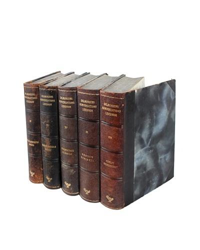 Set of 5 Designer Leather Books, Multi