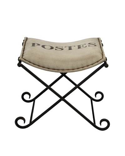 Postes Folding Ottoman, Tan/Black