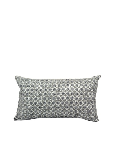 Joseph Abboud French Knot Flowers Pillow, Grey, 12 x 20