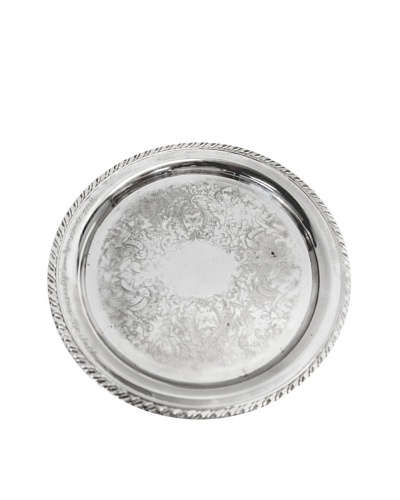 Vintage Ornate Round Serving Tray, c.1940s