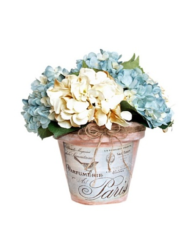 Blue Hydrangea Clay Pot