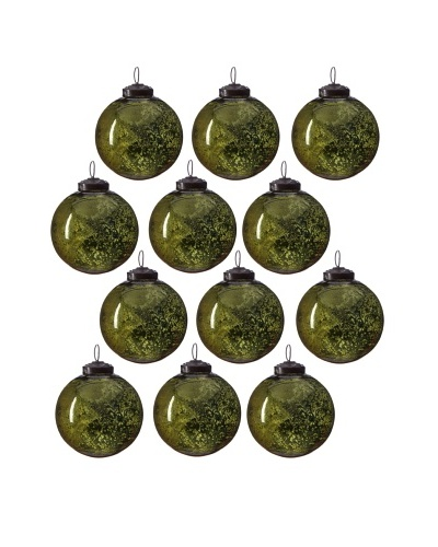 Set of 12 Ribbed Glass Ball Ornaments, Mint Green