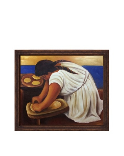 Diego Rivera's Woman Grinding Maize Framed Reproduction Oil Painting