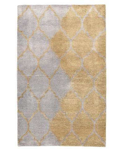 Eternity Gabbeh Modern Silk Rug, Grey/Khaki, 4' 11 x 7' 10