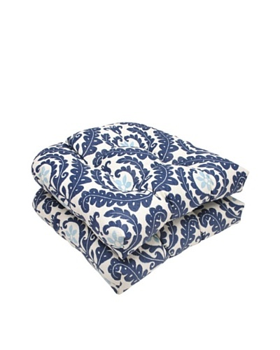 Waverly Sun-n-Shade Set of 2 Meridian Pool Wicker Seat Cushions [Navy/Aqua/Cream]