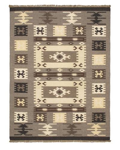Hand Woven Kashkoli Wool Kilim, Gray, 4' 9 x 6' 3