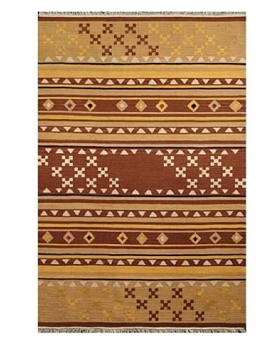 Hand Woven Esme Wool Kilim, Brown/Khaki, 8' x 10'