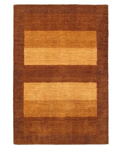 Hand-Knotted Luribaft Gabbeh Riz Rug, Dark Brown, 4' x 6'