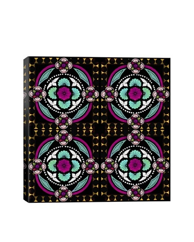 Neon Bouquet Stained Glass Quadric Giclée On Canvas