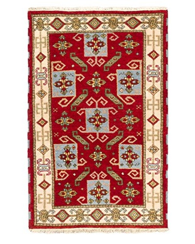 Hand-Knotted Royal Kazak Wool Rug, Red, 3' x 4' 10