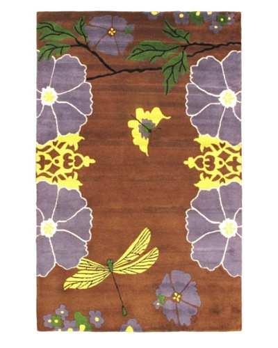 Violet Handmade Rug, Dark Brown, 5' x 8'