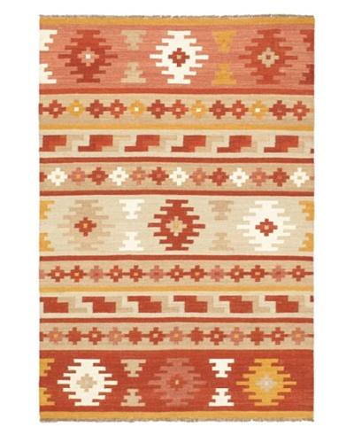 Hand Woven Izmir Wool Kilim, Orange, 5' 6 x 8'