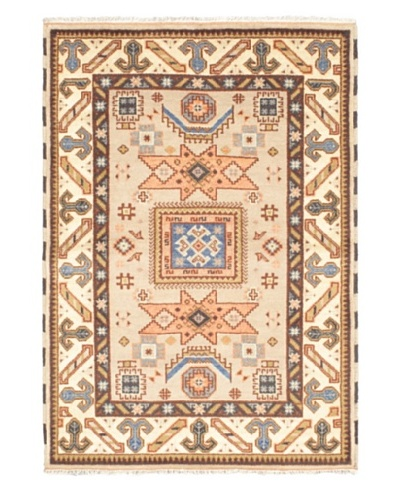 Hand-Knotted Royal Kazak Rug, Cream/Dark Cream, 4' 8 x 6' 8