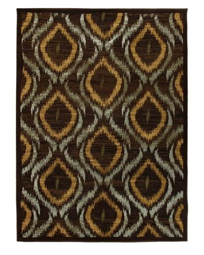 Ikat Area Rug, Dark Brown, 5' 5 x 7' 8