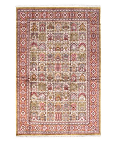 Hand-Knotted Kashmir Kerman Traditional Rug, Pink, 6' x 9'