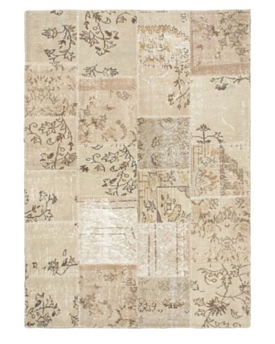 Handmade Ottoman Yama Patchwork Wool Rug, Cream/Beige/Brown, 5' 8 x 7' 11